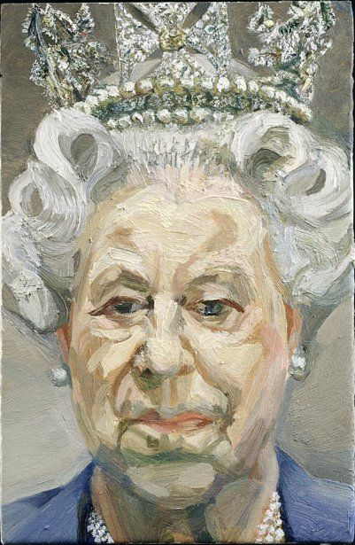 Lucian Freud, HM Queen Elizabeth II 2000–2001 (2001). Photo: © Royal Collection Trust 2012/the Lucian Freud Archive. This tiny, expressive canvas painted in 2001 by Lucian Freud has managed to dramatically divide opinion. Depicting only the monarch's head and shoulders, Freud actually had to expand the canvas by 3.5 centimeters when he decided to capture Queen Elizabeth's diamond diadem as well.