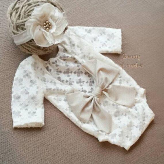 Newborn girl lace romper set newborn girl cream pink photo