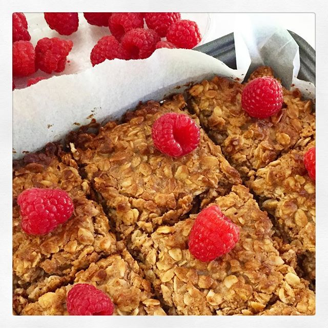 Peanut Butter and Raspberry Flapjacks | Livia's Kitchen