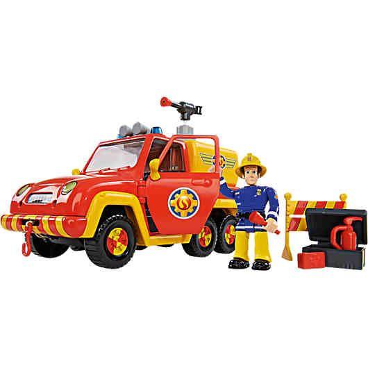 Sam Feuerwehrauto Venus mit Figur: Das Feuerwehrauto Venus ist eines der Einsatzfahrzeuge von Feuerwehrmann Sam und seinem Team aus<br /> Pontypandy. Am Knopf hinter der Fahrertür wird der Originalsound aktiviert und Elvis kann Richtung Einsatzort düsen. Das Auto verfügt<br /> über einen Wassertank mit Löschschlauch und echter Wasserspritzfunktion. Die Seilwinde an der Front des Fahrzeugs ist für die Bergung von Autos oder Verletzten eine wichtige Hilfe. Im Set ist Das F...