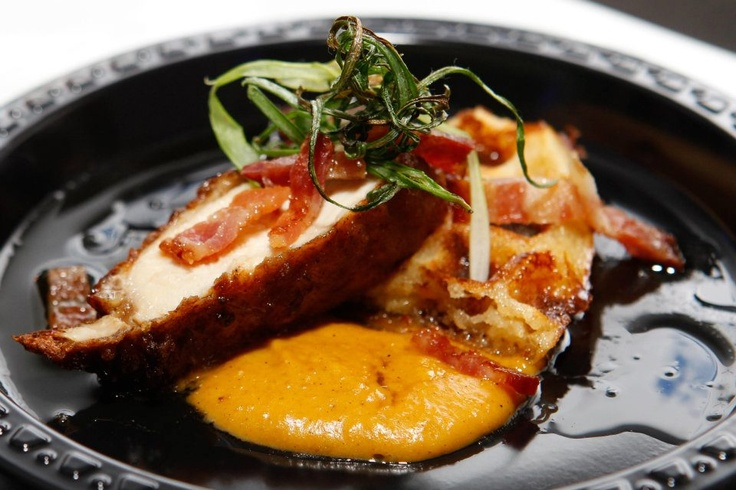 Kyoto Fried Chicken & Cheddar Moffle w/ Bacon, Butternut Squash Puree & Soy Maple Sauce