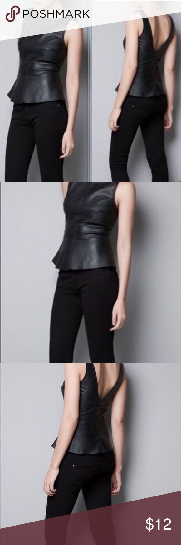 Zara Faux Leather Sleeveless Peplum Top Zara vegan leather peplum top with deep v-neck back. Structured and fitted in bust. Has normal wear. Zara Tops Blouses