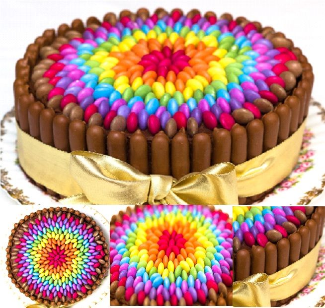 Looking for something bright and cheerful for your party table ? Try this Chocolate Rainbow  Smarties Cake !  Easy to make--> http://wonderfuldiy.com/wonderful-diy-cheerful-chocolate-smarties-cake/