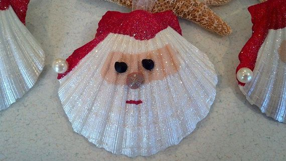 For sale on Etsy: Santa Seashell Christmas Ornament Beach by CathysCoastCreations $8.50