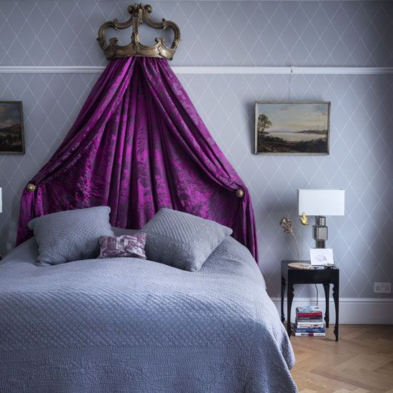 Bedroom Ideas: Gray Bedding with Purple Canopy also Decorative Bronze Crown plus Black Bedside Table and White Lampshade
