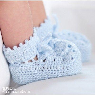 Granny Motif Crochet Booties  free pattern