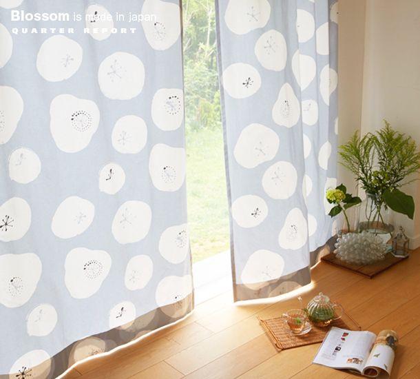 やわらかい花柄イラストが北欧テイストなカーテン Blossom ブロッサム ... クォーターリポート Blossom ブロッサム カーテン