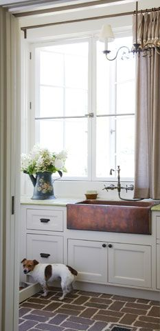 mud room or laundry room idea, love the copper sink