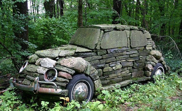 Stone Car:    Adaptable stone: Built by a Cornell art class whose professor was making the point that art can be anywhere. Location outside Ithica, NY.
