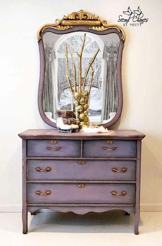 lavender gold painted dresser - purple dresser - painted furniture