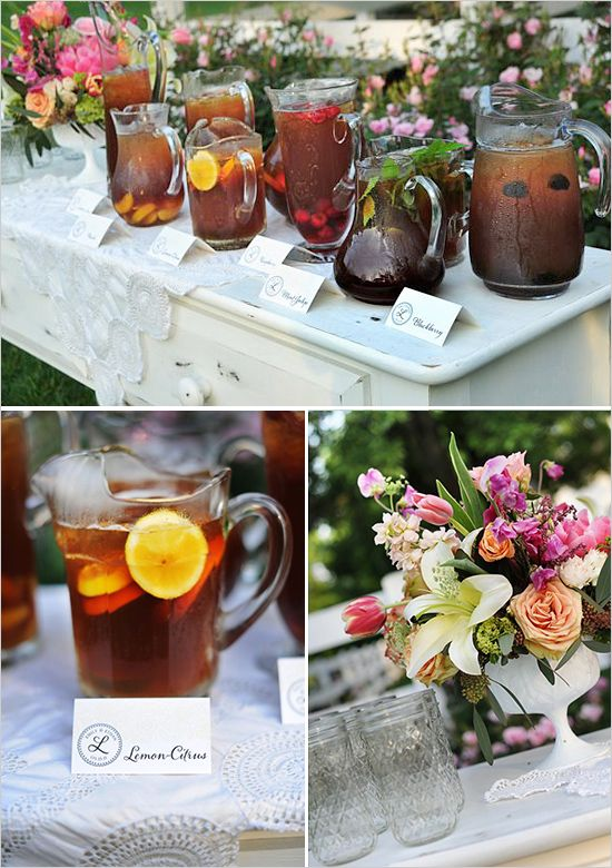 ice tea station http://www.weddingchicks.com/2013/10/17/our-favorite-drink-stations/