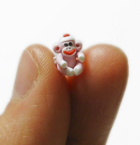 QUARTER INCH microscopic Sock Monkey Sculpture Handmade in Polymer Clay by MagicByLeah