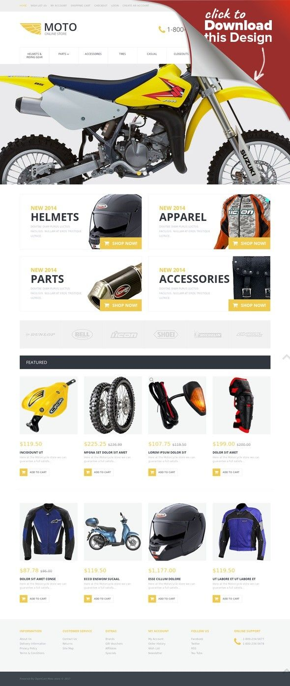 Motorcycle Store OpenCart Template E-commerce Templates, OpenCart Templates, Cars & Motorcycles, Motorcycles, Bike Shop Templates