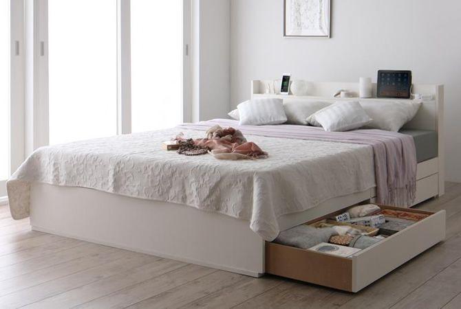 スリム棚・多コンセント付き・収納ベッド 【Splend】スプレンド|収納付ベッド|激安ソファー・ベッド通販 インテリア家具なら【ステリア】