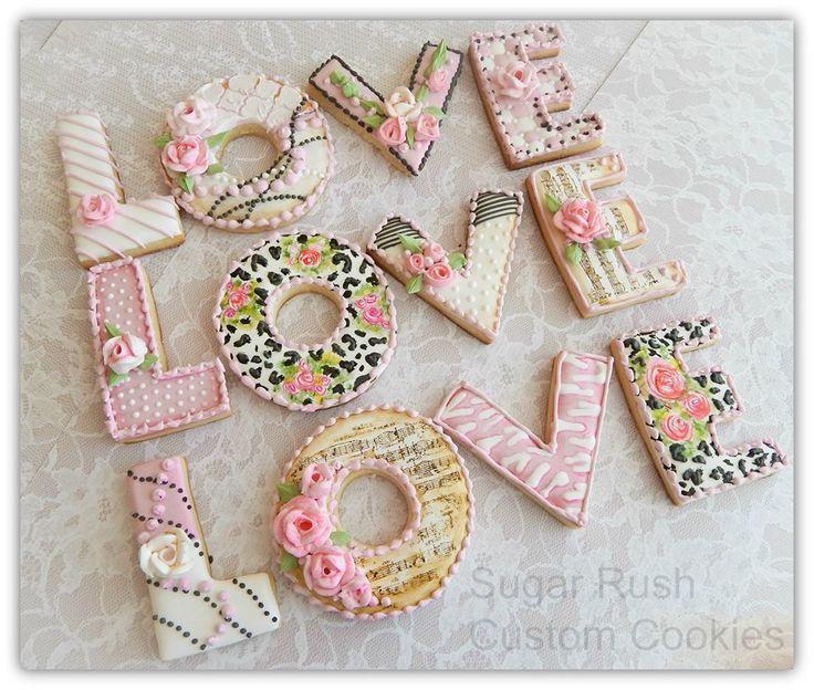 Love themed cookies by Sugar Rush Custom Cookies