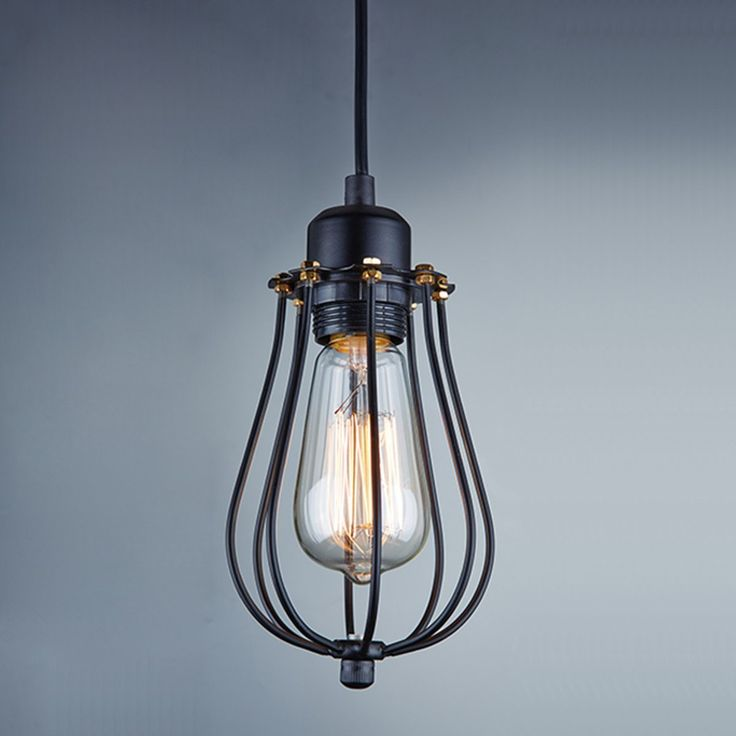 Lightess Vintage Style Industrial Hanging Light Black Mini