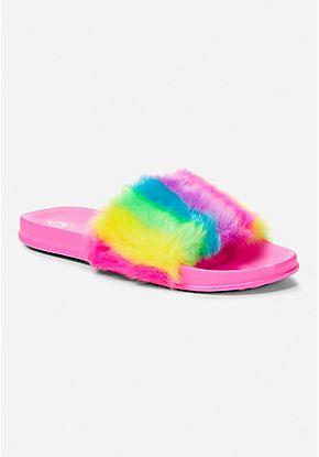 33b8f8e44b88 Neon Rainbow Faux Fur Slide Sandal