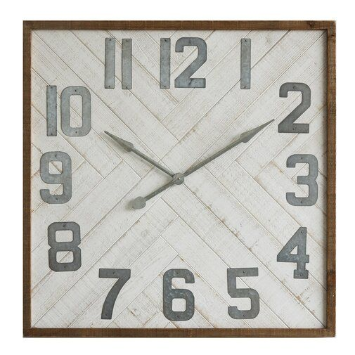 Oversized Louie Square Wood Wall Clock Wood Wall Clock Square Wall Clock Wall Clock