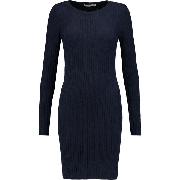 Autumn Cashmere - Ribbed Cashmere Mini Dress (12.125 RUB) ❤ liked on Polyvore featuring dresses, navy, blue stripe dress, ribbed dress, short dresses, navy blue mini dress and striped dress