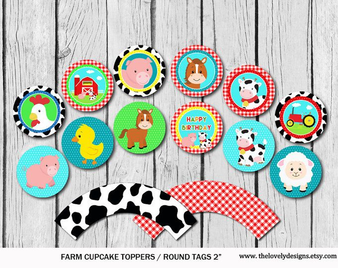 Farm Cupcake Toppers , Animlas Party Toppers, Farm Market Party Printable, Cow Cupcake Toppers, Country Toppers DIY, Instant Download