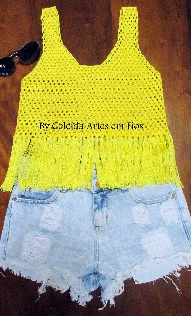 Celeida Ribeiro: Croppd de crochê com franja!