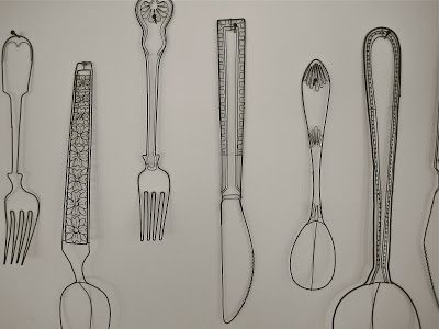 The innards of a cutlery box - wire sculptures by UK artist Cathy Miles