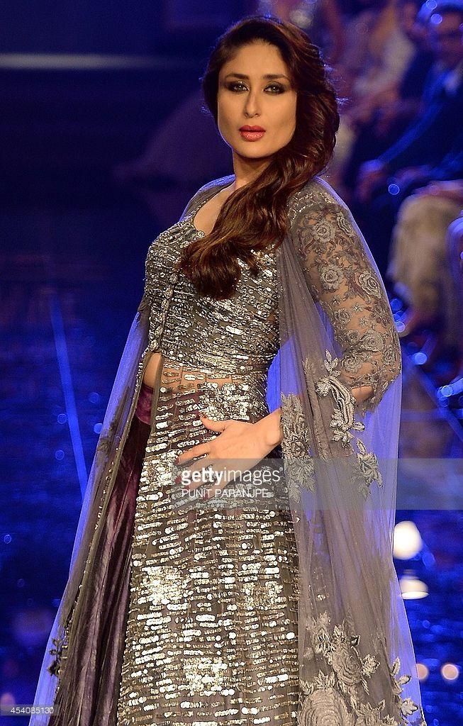 Bollywood actress Kareena Kapoor presents a creation by ...