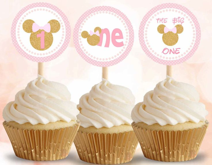 Minnie Mouse pink and gold, Minnie Mouse cupcake toppers, Minnie Mouse stickers, first birthday, Digital File. by DreamyPartyPrintable on Etsy https://www.etsy.com/listing/271531923/minnie-mouse-pink-and-gold-minnie-mouse