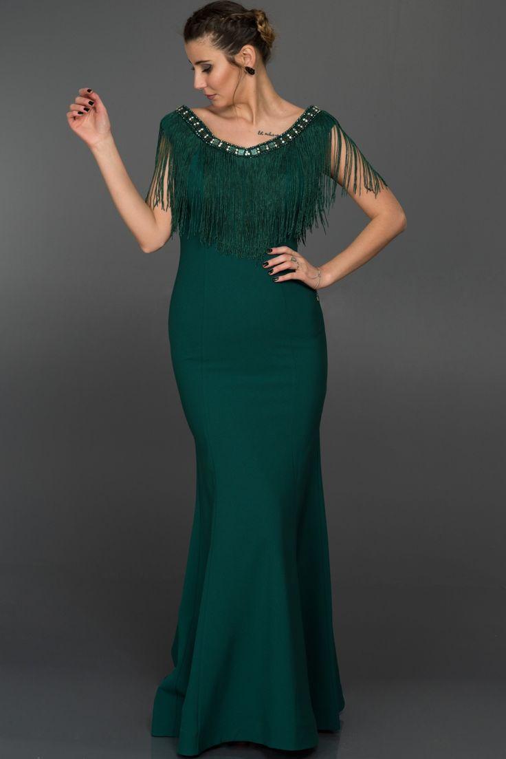 Zümrüt Yeşili Püsküllü Uzun Abiye Elbise W6022