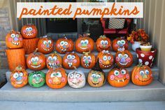 painted pumpkins with goofy faces