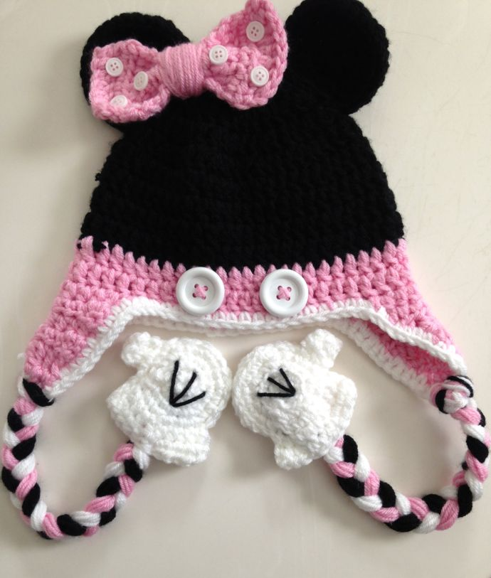 Free Minnie Mouse Crochet Hat Pattern With Ear Flaps : 17 Best images about crocheted hats on Pinterest Cap d ...