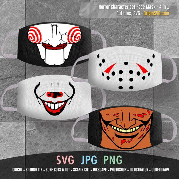 Halloween Face Mask 4 In 1 Pennywise Mouth Billy Saw Doll Mouth Jason Voorhees Freddy Krueger Origin Svg Art Halloween Face Mask Face Mask Freddy Krueger