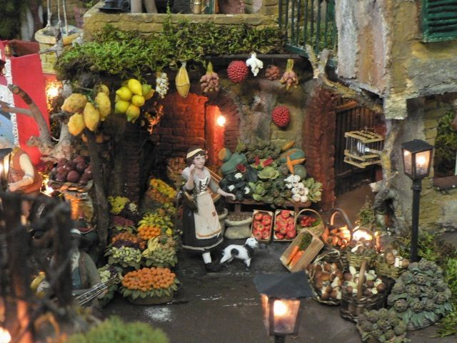 Vegetable stand, by Armando Del Giudice and family members, artisans in Naples, Italy