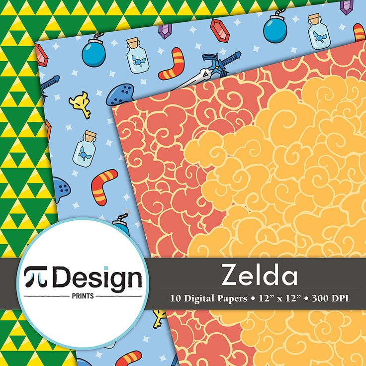 "12""x12"" Zelda Inspired Digital Paper Pack of 10 