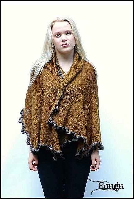 Ravelry: enugu's ~ N u v e m ~ Knit in a 2ply lace weight yarn, this is just beautiful work......  I am so impressed with this design for how it will comfortably sit across the body and the extra warmth allowed with the folds at the neckline, and yet, can be draped to work as a large scarf too.  Think this will be worth the effort of knitting with 2ply!