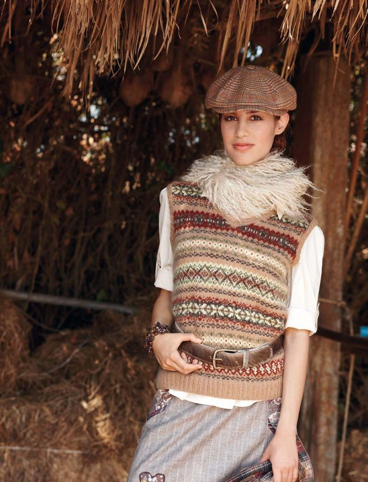 Verena Knitting Magazine lady knit vest pattern fair isle colorwork