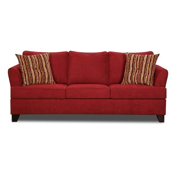 Transitional Red Barrel Studio three over three queen sleeper with removable box seat cushions, semi attached back cushions, flared arms, covered in a soft performance cover. Accent with two colorful toss pillows along with a queen innerspring mattress.