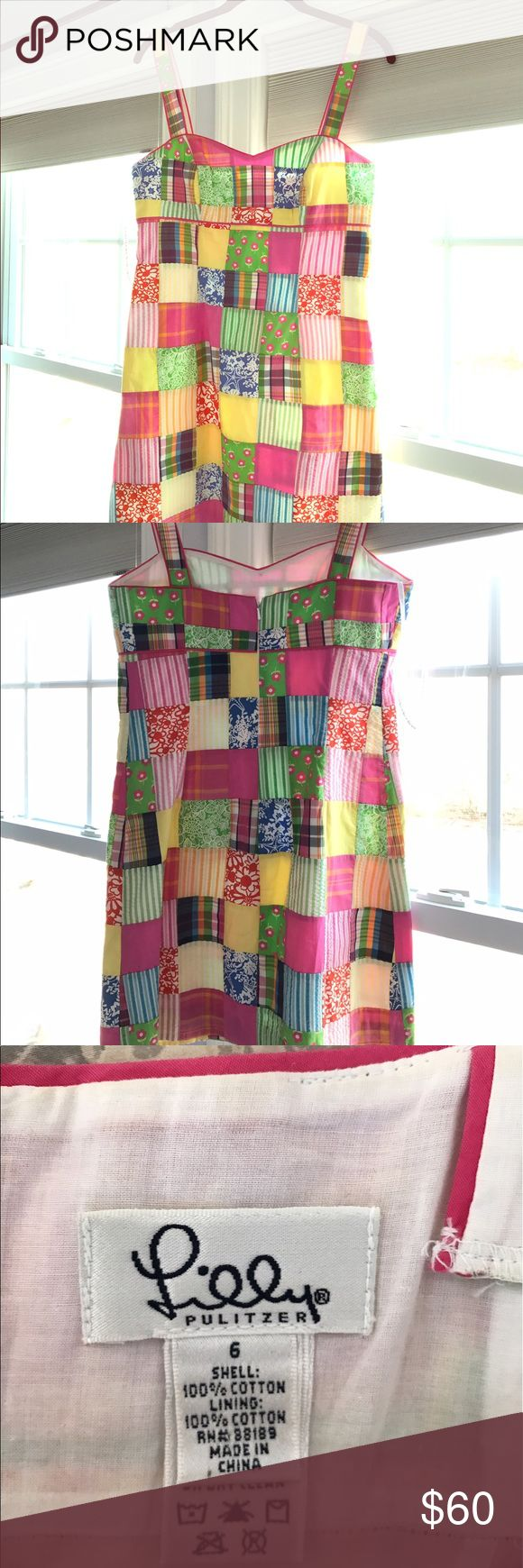 Lilly Pulitzer Patchwork Dress Worn twice. Perfect for summer BBQs, weddings, and bridal showers Lilly Pulitzer Dresses Midi
