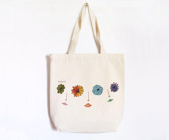 Sharing flower eyes-canvas tote bag-flower print by Pionara