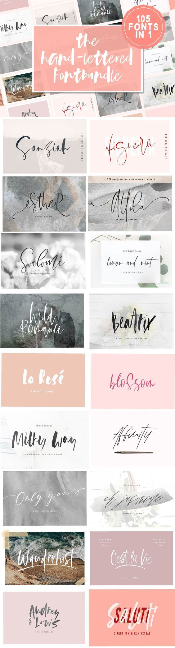 105 in 1 | Hand-Lettered Font Bundle – Jenny Chin-Lai