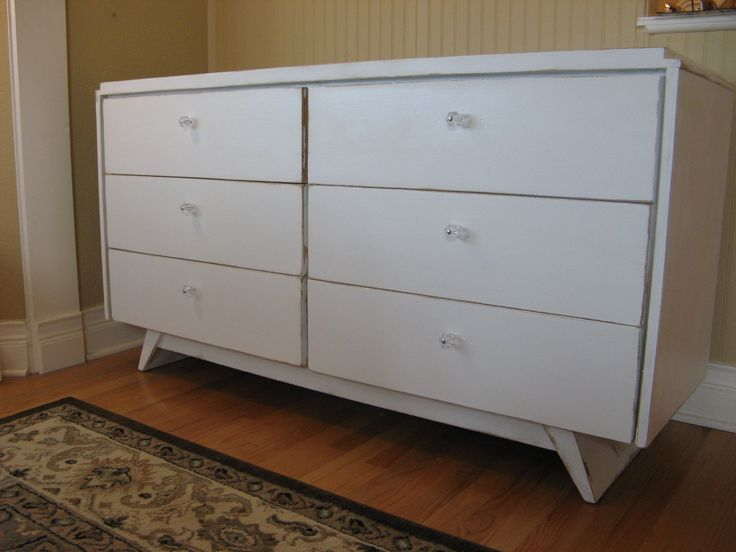 Mid Century Modern Dresser Woolf Furniture From Los Angeles Updated With  Fresh Shabby / Farmhouse Paint
