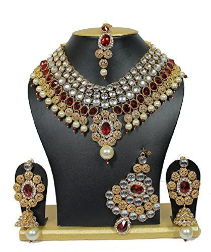 Stunning Bridal Red Stone Indian Bollywood Kundan Party Necklace Set & Elegant Passa Ddivaa, http://www.amazon.com/dp/B01N240FLM/ref=cm_sw_r_pi_dp_x_EyIuzbJW4QFFV