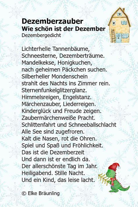 Elke Bräunling. Dezemberzauber. Wie schön ist der Dezember. Adventsgedicht Lichterhelle Tannenbäume, Schneesterne, Dezemberträume. Mandelkekse, Honigkuchen,