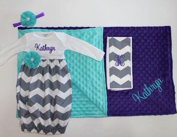 Newborn Going Home Set - Gown - Baby Layette - Teal - Purple - Grey Chevron - Baby Shower Gift - Keepsake - Blanket - Burp Cloth
