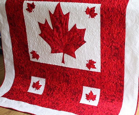 Patriotic Quilt Oh Canada in Red and White by QuiltLover on Etsy, $280.00