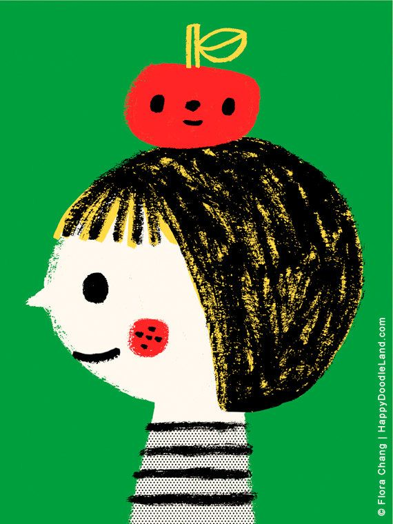 """An Apple A Day, 12"""" x 16"""" Art Print by flora chang 