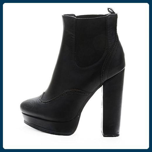 Onlymaker Damenschuhe High Heels Blockabsatz Ankle Boots Stiefeletten Kunstleder Schwarz EU44 - Stiefel für frauen (*Partner-Link)