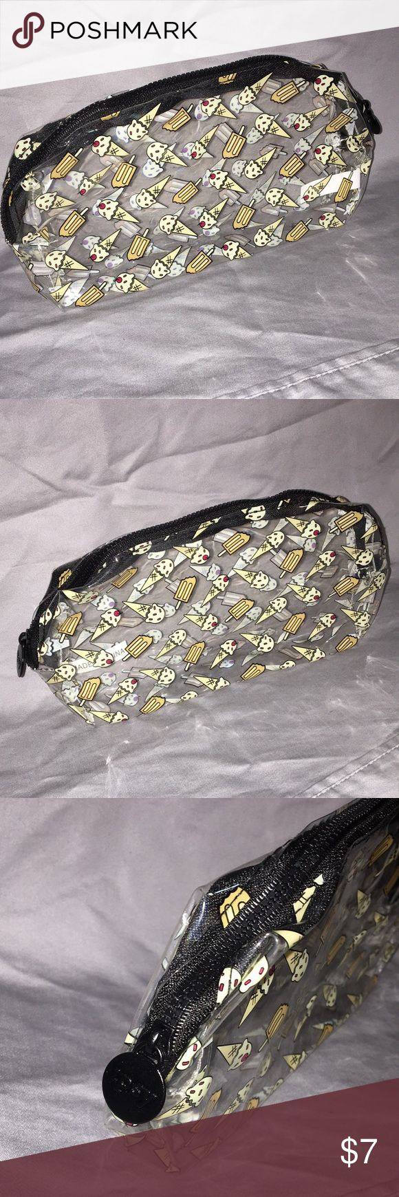 Ipsy Makeup Bag Clear ice cream patterned makeup bag. Plastic material. Easy to clean. See through. Bags Cosmetic Bags & Cases