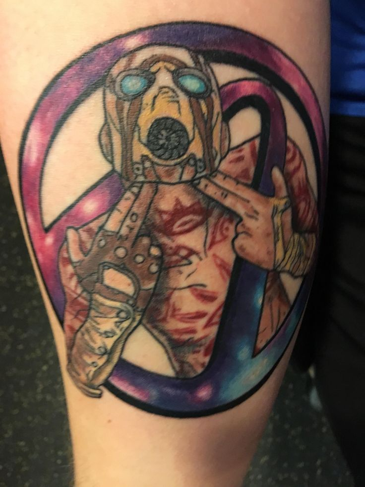 Borderlands tattoo I got for my cousin that passed away by David Presley. (Wasted Youth Tattoos Romeoville IL)