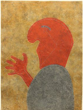 Unframed color etching, ''Personaje de Perfil,'' 1980, by Rufino Tamayo (Mexican, 1899-1991)